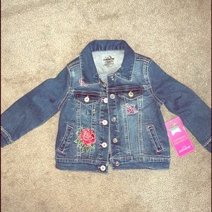 NWT Toddler Girls Embroidered Jean Jacket